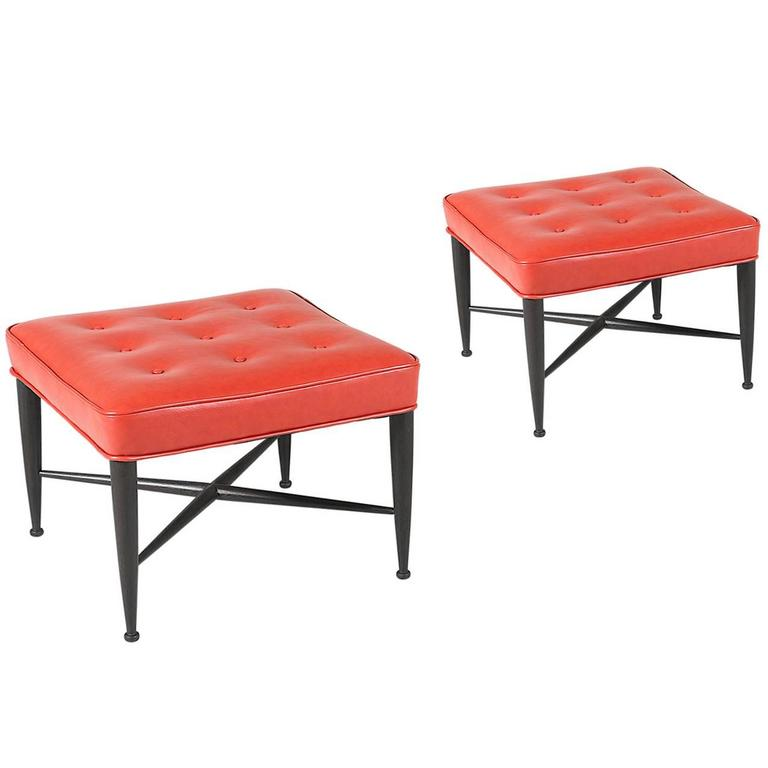 """Edward J. Wormley """"Thiebes"""" Red Leather Stools for Dunbar 1"""