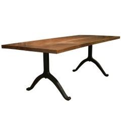 American Black Walnut Farmhouse Table with Blackened Steel Wishbone Legs