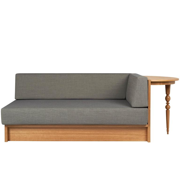 Coated Oak Veneer Daybed with Side Table by Sam Baron