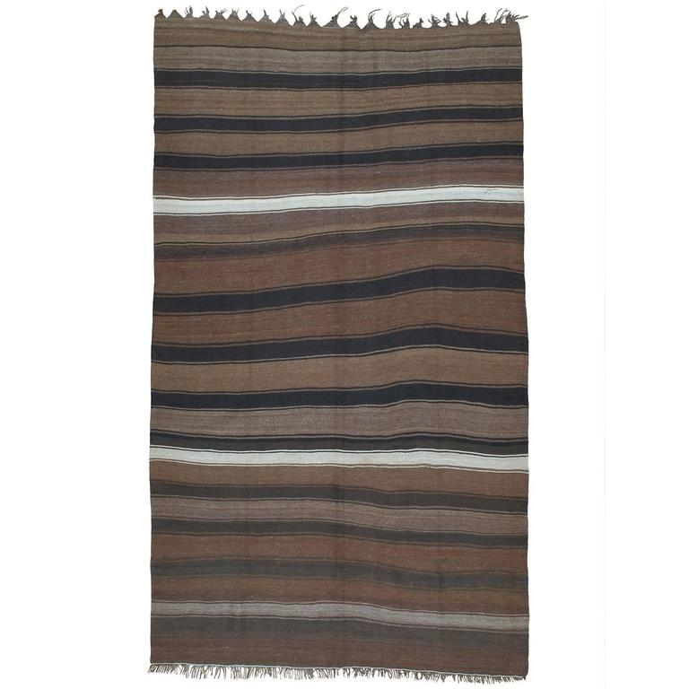 Kilim Rug with Wavy Bands For Sale
