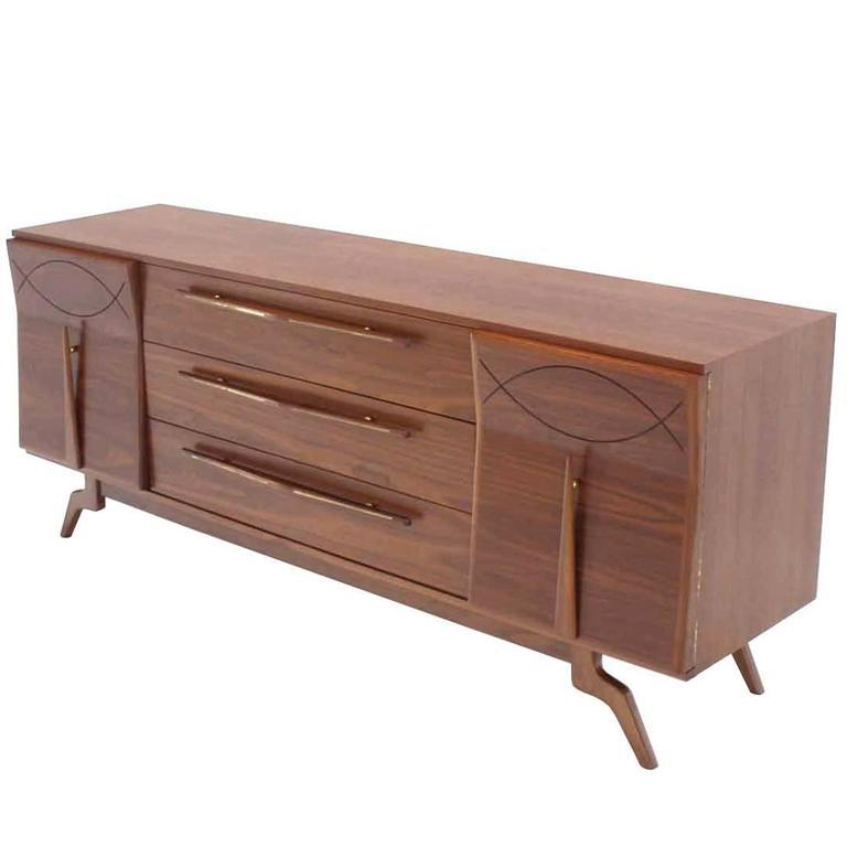 Outstanding Mid-Century Walnut Dresser with Heavy Sculptural Hardware