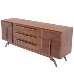 Outstanding Mid Century Walnut Dresser With Heavy Sculptural Hardware