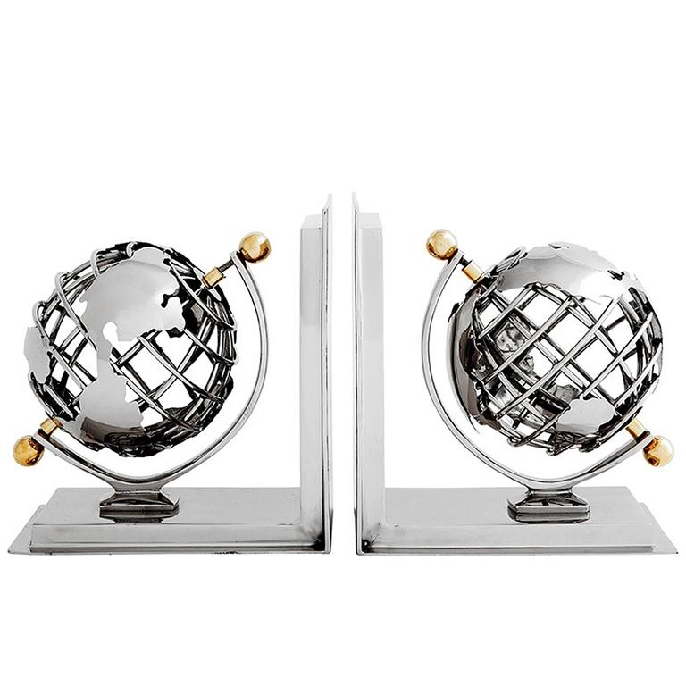Earth Bookend Set of Two in Nickel Finish or Brass Finish, 2016 For Sale