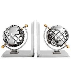 Earth Bookend Set of Two in Nickel Finish or Brass Finish, 2016