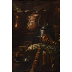 Italian Oil Painting, Kitchen Still Life by Gian Domenico Valentino