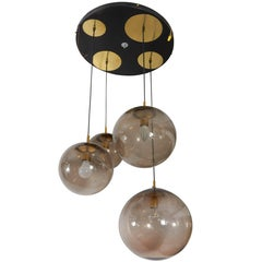 RAAK Four-Light Pendant with Smoked Glass Globes