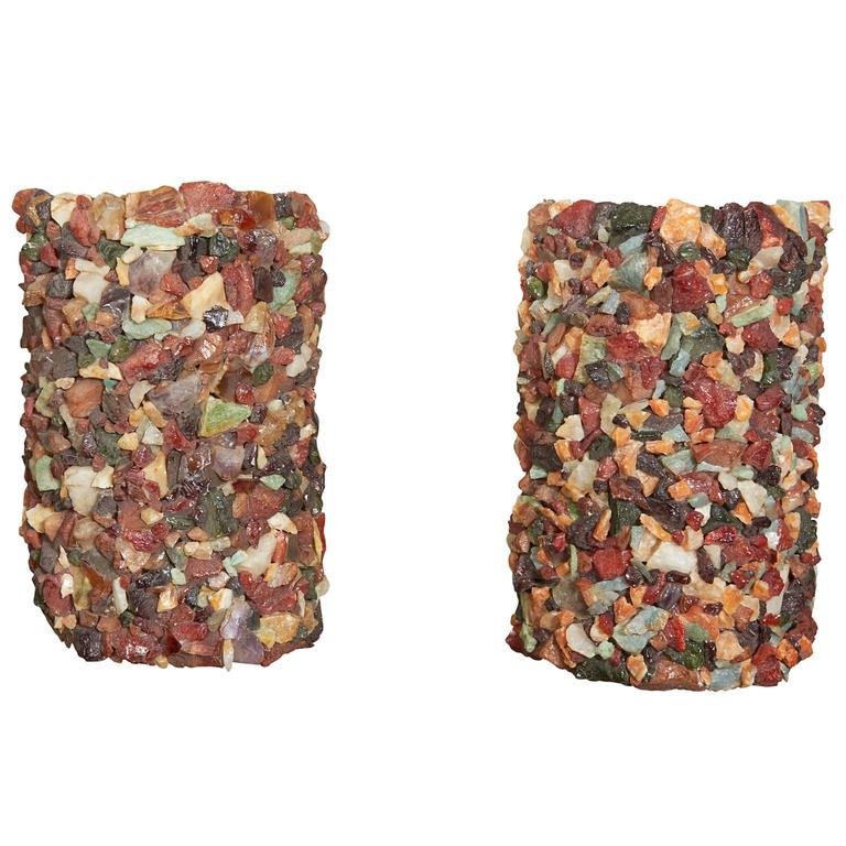 Pair of 1960s Stone Mosaic Sconces 1