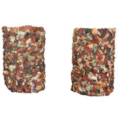 Pair of 1960s Stone Mosaic Sconces