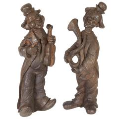 Pair of 1920s Solid Carved Wood Clown Figures