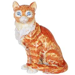 Italian 1970s Hand-Painted Ceramic Tabby Cat