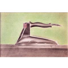 """Steam Iron,"" Art Deco-Moderne Vintage Industrial Design Drawing"