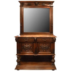Antique French Hand-Carved Sideboard with Tall Mirror