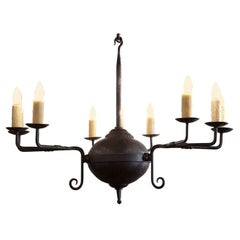 "Hand-Forged Custom Iron ""Mercer"" Chandelier with Nine Lights"