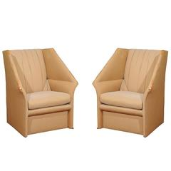 Dramatic Pair of Modern Wing Chairs by John Saladino for Baker