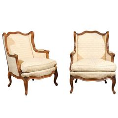 Pair of 19th Century Walnut  Louis XV Style Bergeres, circa 1880