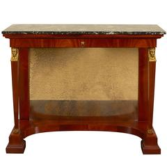 Egyptian Revival Empire Style Mahogany and Ormolu Console Table