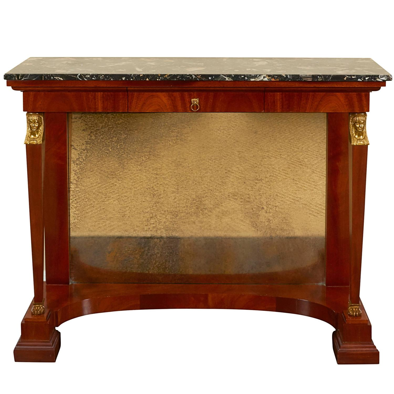 Egyptian Revival Empire Style Mahogany And Ormolu Console Table For Sale At  1stdibs