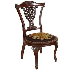 Victorian Mahogany Slipper Chair with Needlepoint Seat