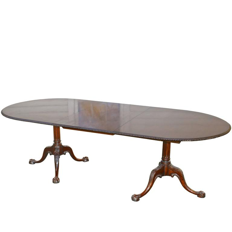 Philadelphia Chippendale Revival Double Pedestal Dining Table For Sale