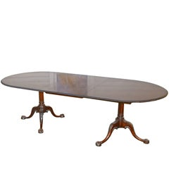 Philadelphia Chippendale Revival Double Pedestal Dining Table