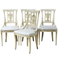 Four Directoire Style Cream Painted Side Chairs