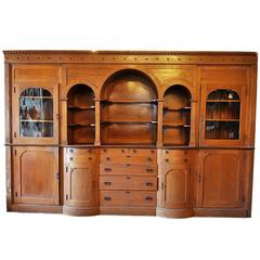 Amazing Early 20th Century Oak Built in Buffet with Arches and Original Hardware