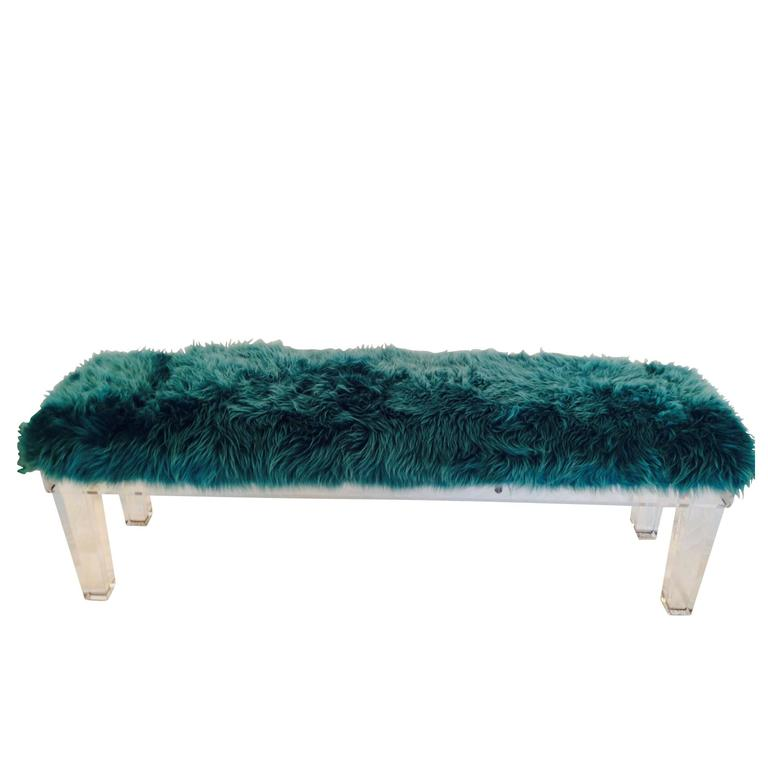 Contemporary Lucite Slab & Teal Mongolian Fur Upholstered Long Bench