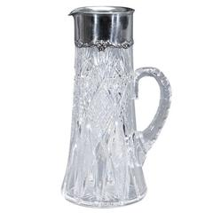 Signed Hawkes ABP Cut Crystal Pitcher/ Gorham Sterling Mount