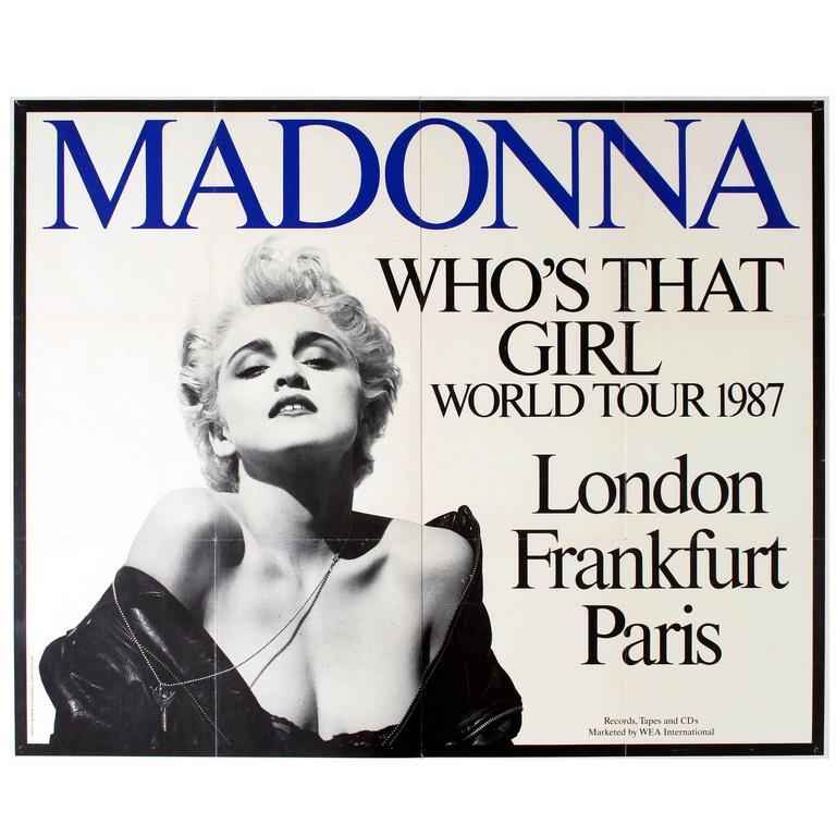 original vintage 1987 queen of pop music tour poster. Black Bedroom Furniture Sets. Home Design Ideas
