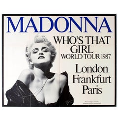 """Original Vintage 1987 """"Queen of Pop"""" Music Tour Poster """"Madonna Who's That Girl"""""""