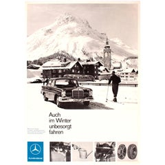 Original Vintage Mercedes Benz Advertising Poster, Even in Winter Drive Safely