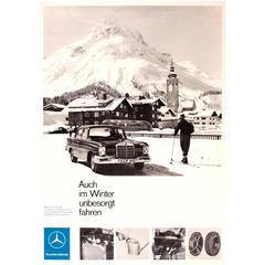 Original Vintage Mercedes Benz Advertising Poster, Even in Winter Drive Safely