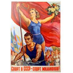 Original Vintage Soviet Propaganda Poster: Sport in the Ussr, Sport of Millions