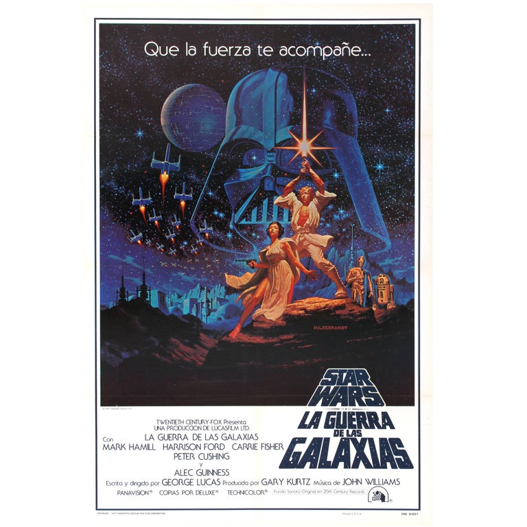 Original Vintage 1977 Iconic Star Wars Movie Poster By The Hildebrandt Brothers For Sale