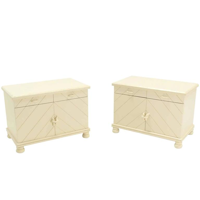 Pair of White Textured Paint Nightstands