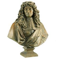 Terracotta Bust of Colbert, After Antoine Coysevox, Versailles