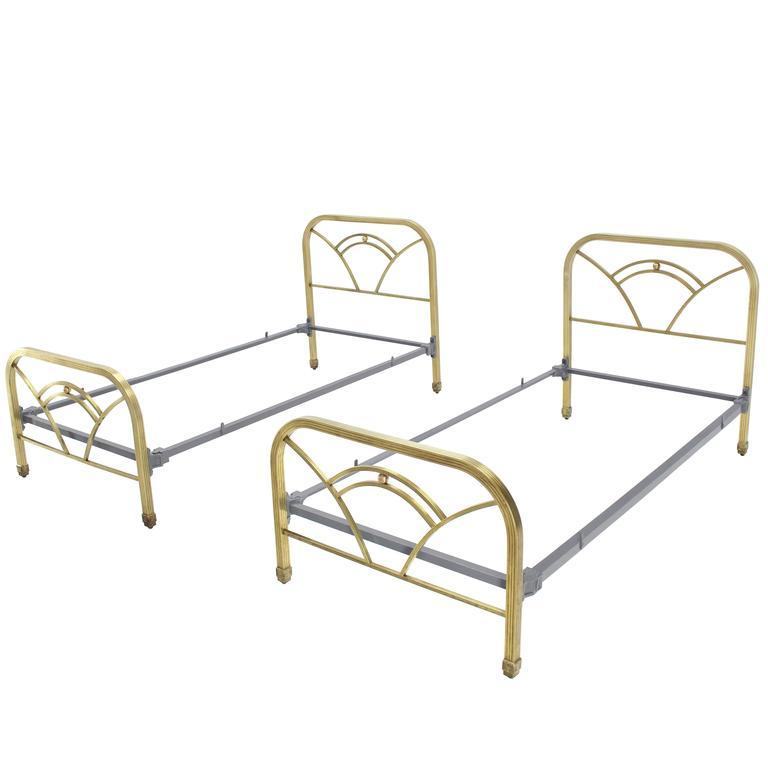 Pair of Art Deco Twin Brass Beds