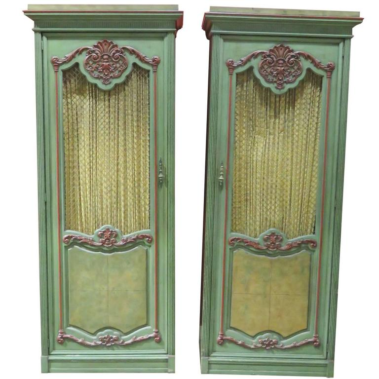 Pair of Italian Style Painted Cabinets