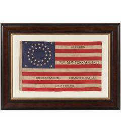 35 Stars in a Double Wreath Pattern on a Civil War Veteran's Flag