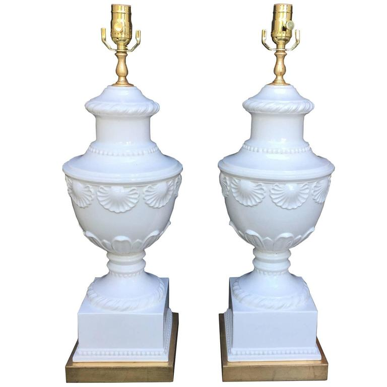 Pair of Mid-Century White Glazed Porcelain Lamps, Shell Motif