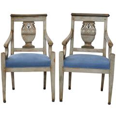 Rare Pair of French Empire/Directoire Painted Open Armchairs, circa 1780