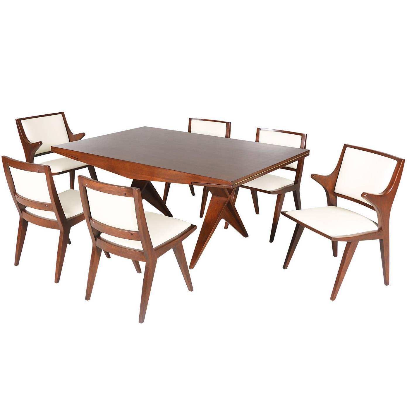 Rare architectural dining set by dan johnson for hayden for Dining hall furniture