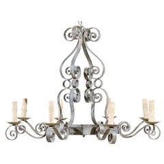 French Vintage Eight-Light Painted Iron Chandelier with S-Scrolls Throughout