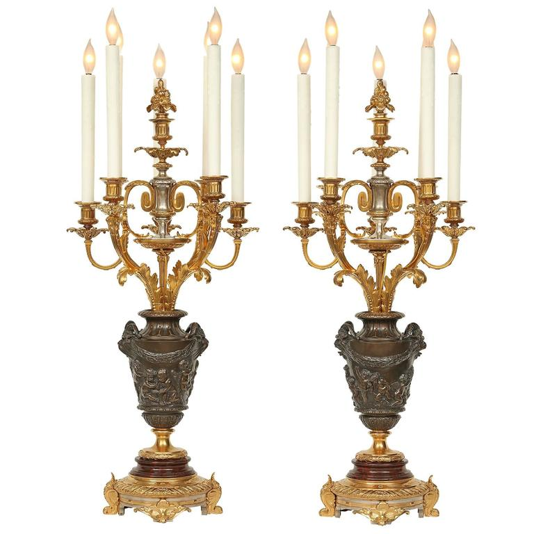 19th Century Louis XVI St. Ormolu Candelabra Lamps, Attributed to F. Barbedienne