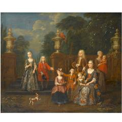 Portrait of an Elegant Family in a Grand Garden, by Jan Josef Horemans