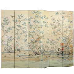 Tall Hand-Painted Decorative Screen or Room Divider