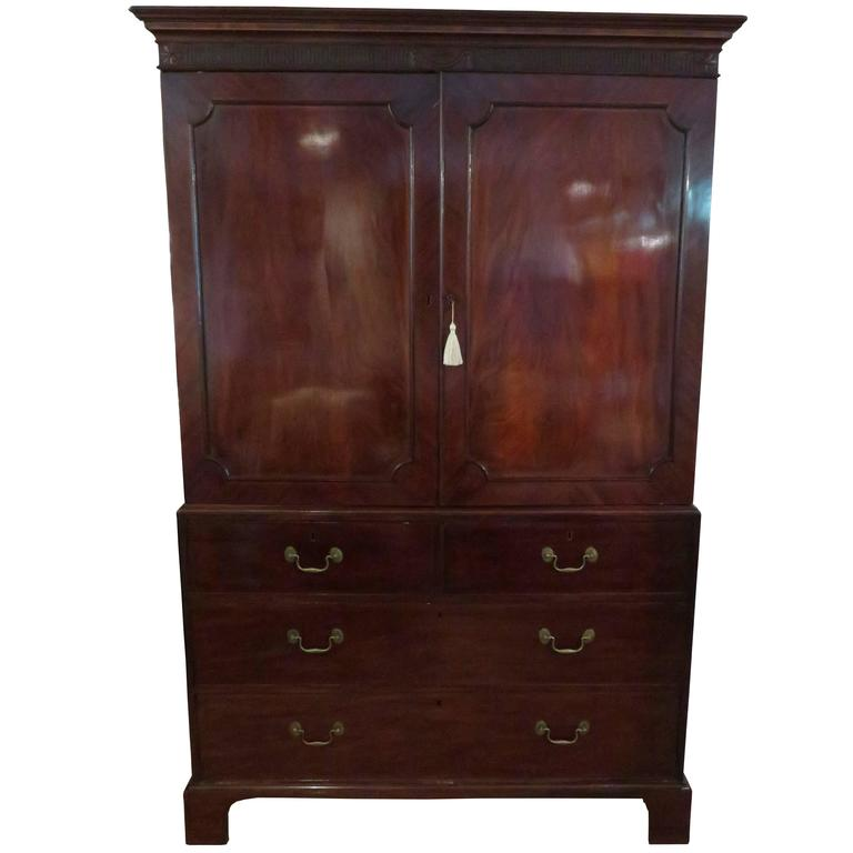 George iii mahogany linen press at 1stdibs for Linen press