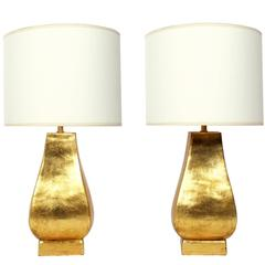 Pair of Gilt Terracotta Lamps by Ugo Zaccagnini