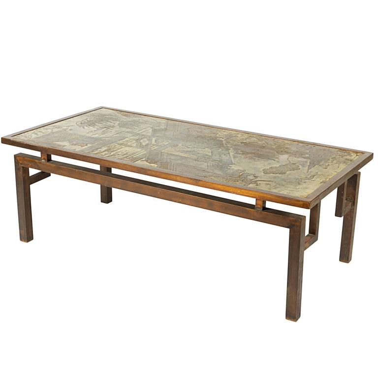 "Philip and Kelvin LaVerne ""Chan"" Etched Bronze Coffee Table"