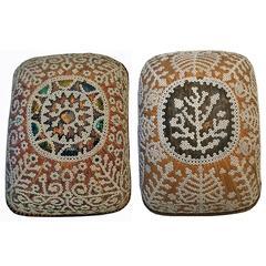 Dayak Reed Basket with Shells, Pair
